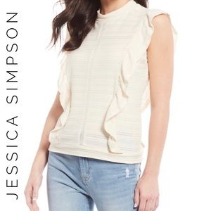 JESSICA SIMPSON Sleeveless Boho Cream Top Large